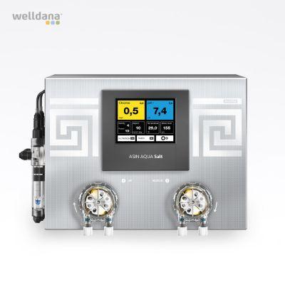 ASIN Aqua Salt CLFvs. Saltgenerator med frit klor Aseko pool kontrol, inkl. 2 sensorer og 2 pumper