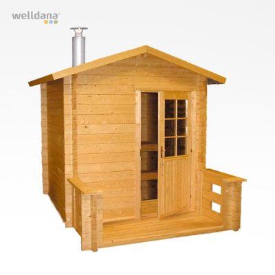 Outdoor sauna Kuikka med Pro20 træovn, 2x2+0,9mtr