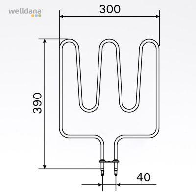 Sauna element 1500W, 240V Terminaler i bunden.