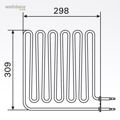 Sauna Element 2750W, 230V Vega (terminal side)