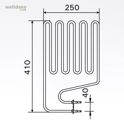 Sauna element 2000W, 230V Terminaler i siden.