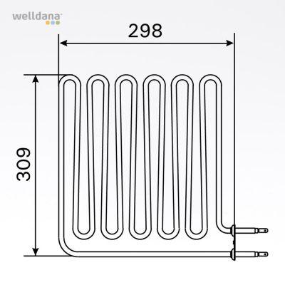 Sauna element 2670W, 230V Terminaler i siden.