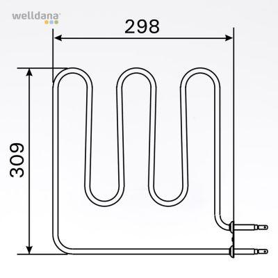 Sauna element 1500W, 230V Terminaler i siden.