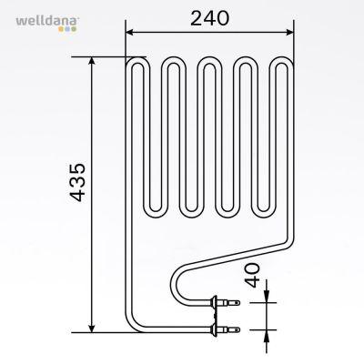 Sauna element 2150W, 230V Terminaler i siden.