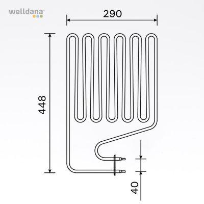 Sauna element 2500W, 230V Terminaler i siden.