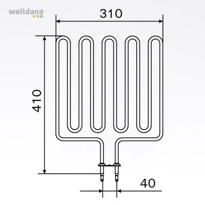 Sauna element 2670W, 240V Terminaler i bunden.